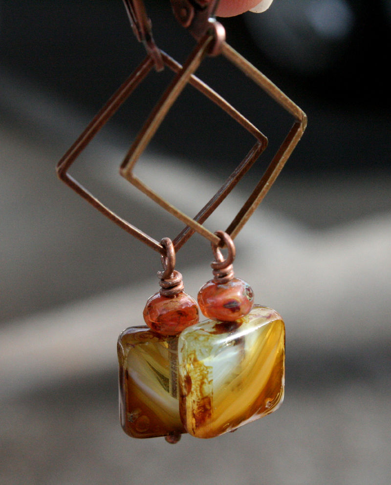 Copper square link with square czech glass flat square and baby rondelle - 3