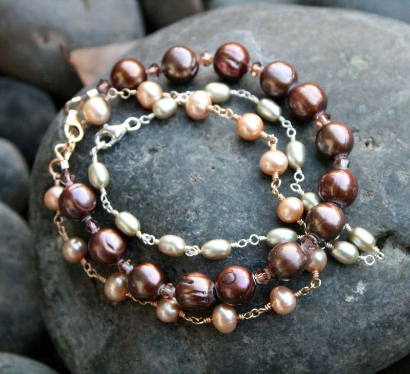 Three pearl bracelets