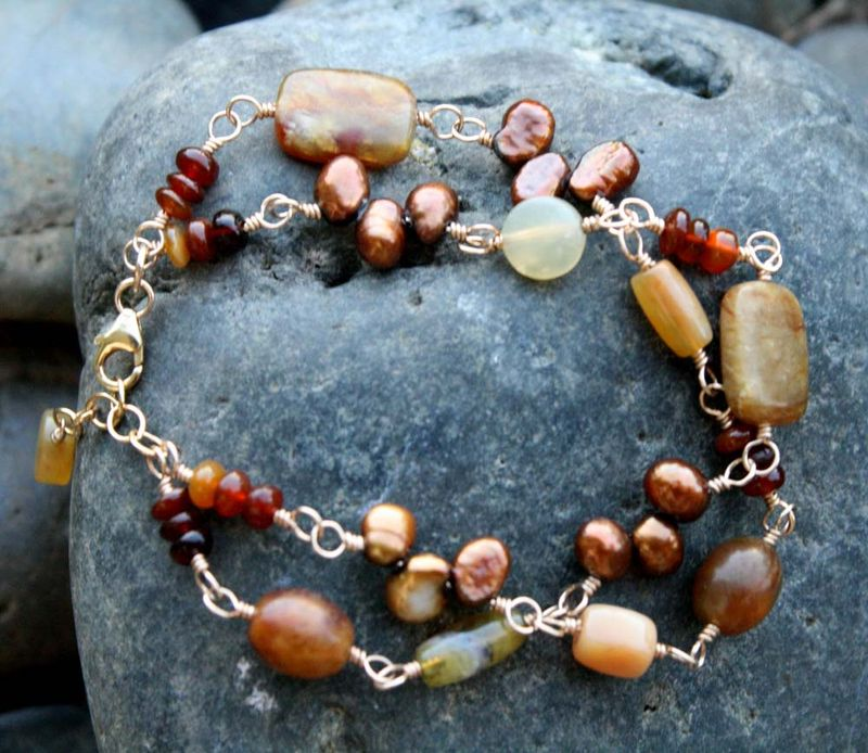 Mixed stones and pearls bracelet 2