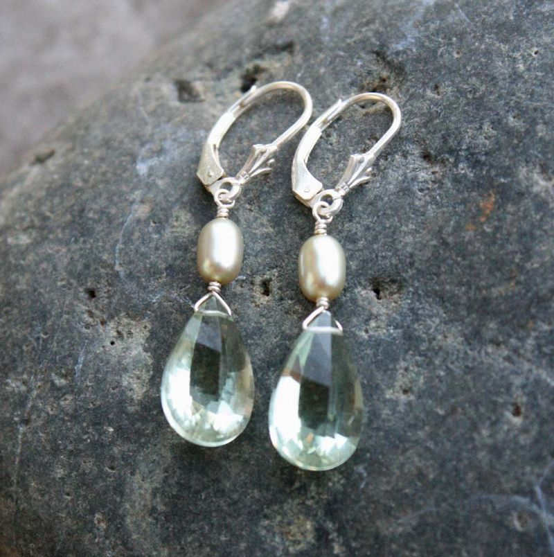 Pale green pearl and green amethyst earrings