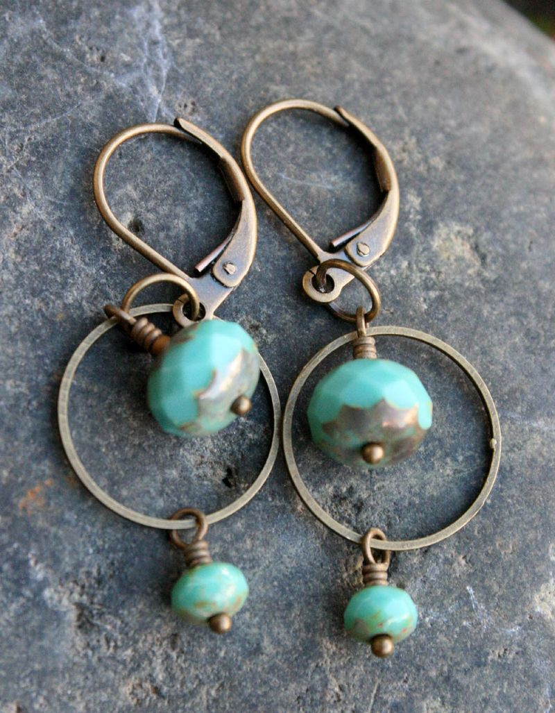 Turquoise picasso glass earrings 2