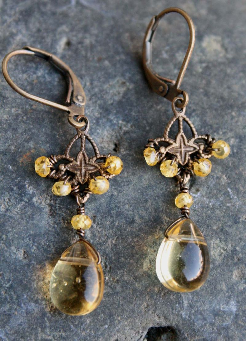 Honey quartz and cz earrings