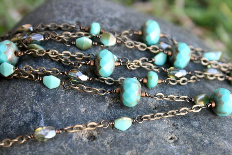 Turquoise picasso glass necklace7
