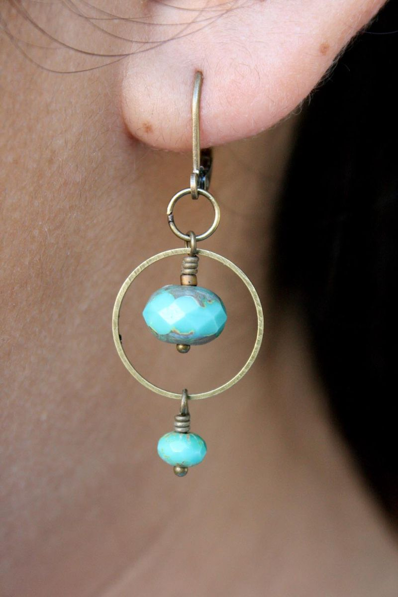 Turquoise picasso glass earrings